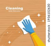 cleaning wooden surface home or ... | Shutterstock .eps vector #1936102630