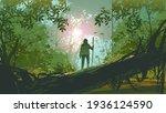 traveler standing on a fallen... | Shutterstock .eps vector #1936124590