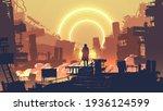 man in the dystopian city...   Shutterstock .eps vector #1936124599