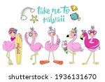 summer flamingos collection and ... | Shutterstock .eps vector #1936131670