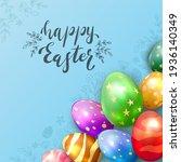 colorful easter eggs on blue... | Shutterstock .eps vector #1936140349