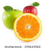 two apples and oranges on a... | Shutterstock . vector #193614563