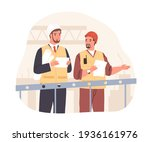 manager and foreman in helmets... | Shutterstock .eps vector #1936161976