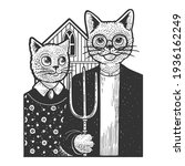american gothic cats sketch... | Shutterstock .eps vector #1936162249