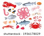 Collection of various seafood: fish, shellfish, crustaceans, octopus. Healthy fresh sea food. Sea creatures. Vector illustration, cartoon, icons, symbols, signs, stickers, poster, banner