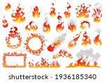 Set Of Fire Flames  Fireballs...
