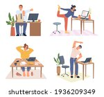 people working from home or...   Shutterstock .eps vector #1936209349