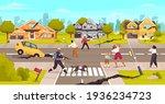 damaged city street. earthquake ... | Shutterstock .eps vector #1936234723