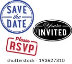 save the date invitation stamps | Shutterstock .eps vector #193627310