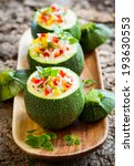 round zucchini stuffed with... | Shutterstock . vector #193630553