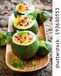round zucchini stuffed with...   Shutterstock . vector #193630553