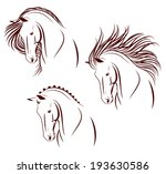 Stock vector set of differently stylized horse heads 193630586