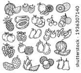 black line doodle set of cute... | Shutterstock .eps vector #1936307140