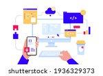 monitor with program code on... | Shutterstock .eps vector #1936329373