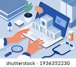 doctors hands typing on laptop... | Shutterstock .eps vector #1936352230