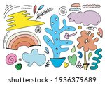 hand drawn various shapes and...   Shutterstock .eps vector #1936379689
