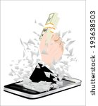 black smartphone broken glass... | Shutterstock .eps vector #193638503