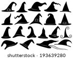 set of different witch hats | Shutterstock .eps vector #193639280