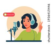 radio host with table flat... | Shutterstock .eps vector #1936415446
