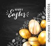 golden easter eggs on black... | Shutterstock .eps vector #1936422016