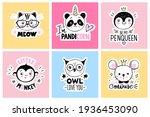 vector set with cartoon doodle... | Shutterstock .eps vector #1936453090