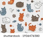 cute cartoon cat seamless... | Shutterstock .eps vector #1936476580