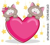 valentine card with lovers cats | Shutterstock .eps vector #193648160