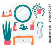 bathroom vector cartoon... | Shutterstock .eps vector #1936498039