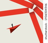 woman breaking barrier ... | Shutterstock .eps vector #1936504546