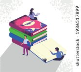 men woman with isometric books   Shutterstock .eps vector #1936517899