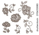 old lace ornamental flowers.... | Shutterstock .eps vector #193653080