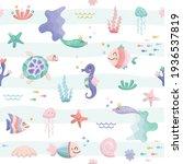 Sea Fish Characters Cartoon...