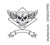 biker patch skull with wings   Shutterstock .eps vector #1936537993