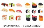 sushi  rolls  gunkan collection ...   Shutterstock .eps vector #1936538839