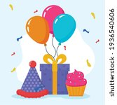birthday gift hat and muffin   Shutterstock .eps vector #1936540606