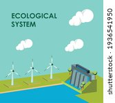 ecological system dam with mills   Shutterstock .eps vector #1936541950