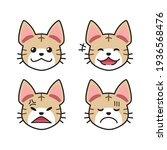 set of tabby cat faces showing... | Shutterstock .eps vector #1936568476