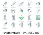 thermometer line icons. vector... | Shutterstock .eps vector #1936569109