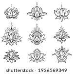 mehndi set of henna lotus. hand ... | Shutterstock .eps vector #1936569349