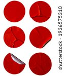 Small photo of Blank red price circle adhesive paper sale stickers label set crumpled isolated on white background