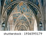 Vaulted stone ceilings of the courtyard archway and Duke University Chapel in Durham North Carolina
