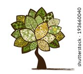 card with stylized tree | Shutterstock .eps vector #193660040