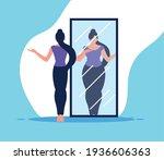 woman looking mirror disorder...   Shutterstock .eps vector #1936606363
