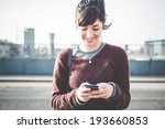 young beautiful hipster woman... | Shutterstock . vector #193660853