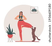 woman doing yoga at home. her... | Shutterstock .eps vector #1936609180