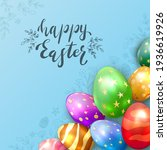 colorful easter eggs on blue... | Shutterstock . vector #1936619926