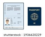 vector blank open passport...   Shutterstock .eps vector #1936620229