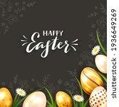 golden easter eggs on black... | Shutterstock . vector #1936649269