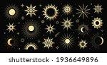 Vector Golden Set Of Mystical...