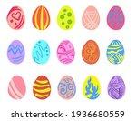 set of easter eggs illustration.... | Shutterstock .eps vector #1936680559